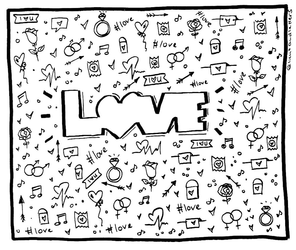 Schoene Karte zum Valentinstag mit Love Lettering und kleinen Liebessymbolen wie Herzen, Liebesschloessern, Luftballons & Rosen. In der Mitte das Love Lettering in einer Outline - Schrift.