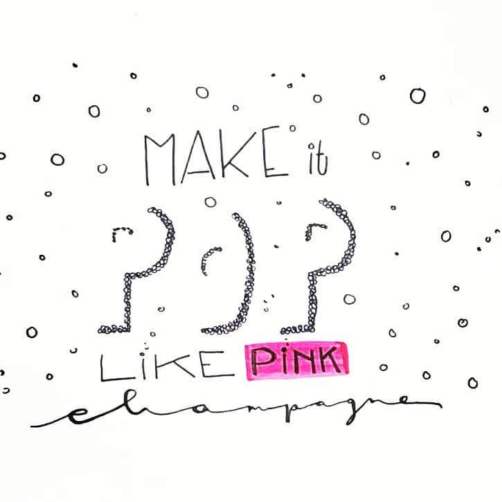 """Song von Ariane Grande als modernes Handlettering mit Pigment Liner und pinkem Brushpen """"Pink Champagne"""""""