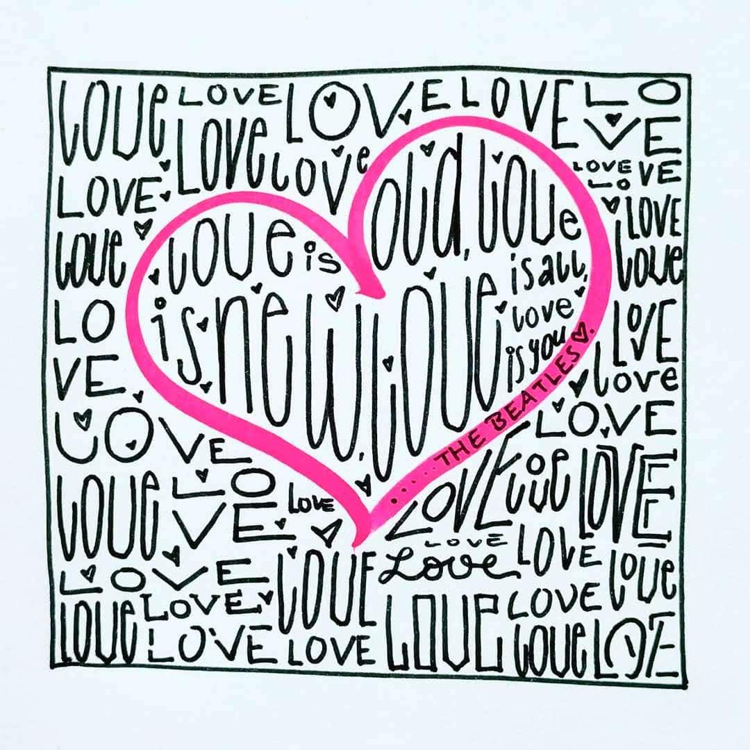 """Handlettering Spruch zum Valentinstag oder Lettering zur Hochzeit """"Love is all"""" schoener Beatles Song fuer Handlettering"""