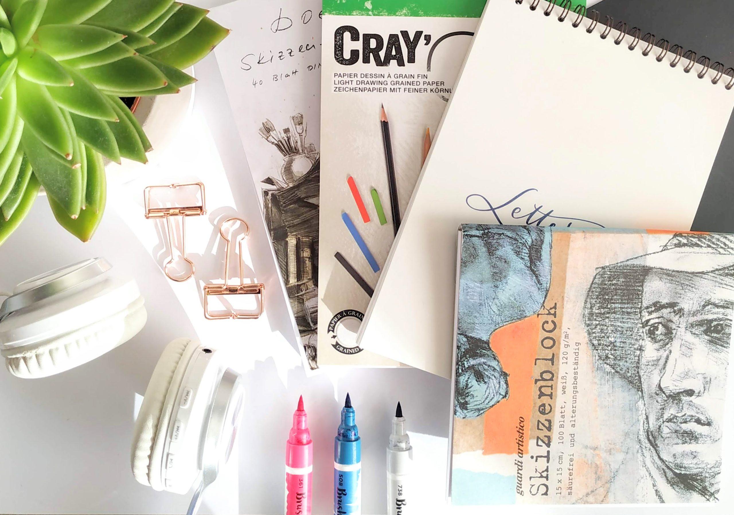 Papier, Sizzenblöcke und Notizbücher für das Handlettering mit Brushpens