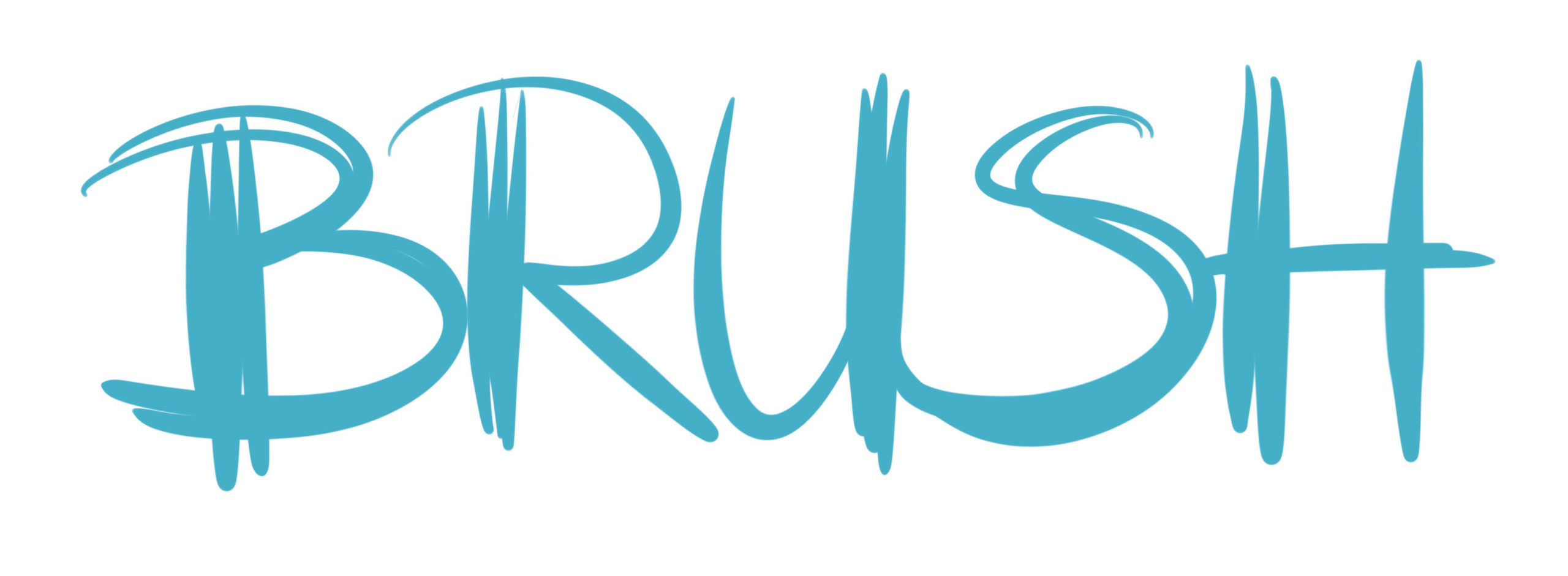 Brushlettering Großbuchstaben mit mehreren kräftigen Abstrichen nebeneinander, die dann das Wort BRUSH ergeben.
