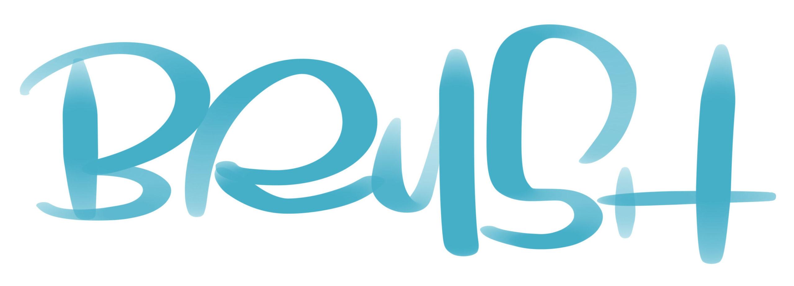 Modernes Brushlettering Alphabet als Wort BRUSH mit Brushpen bzw. Wassertankpinsel gelettert