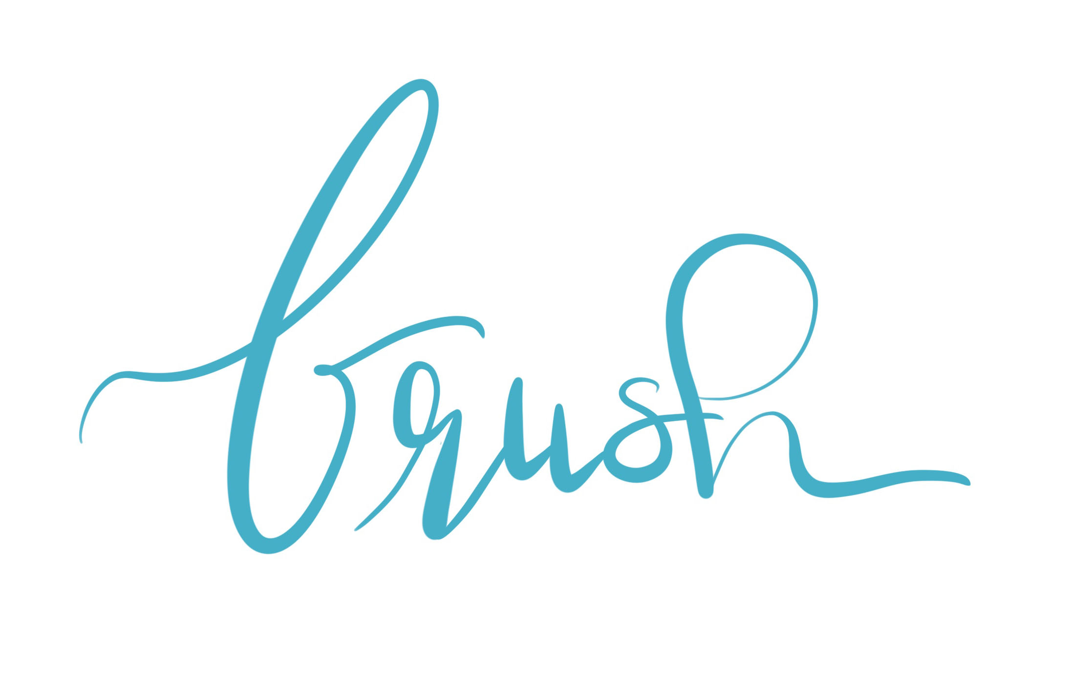 Brush Lettering in tuerkis mit feinem Brushpen und den typischen ducken Abstrichen und duennen Aufstrichen, die beim Brush lettering mit dem Brushpen durch die flexible Pinselspitze entstehen.