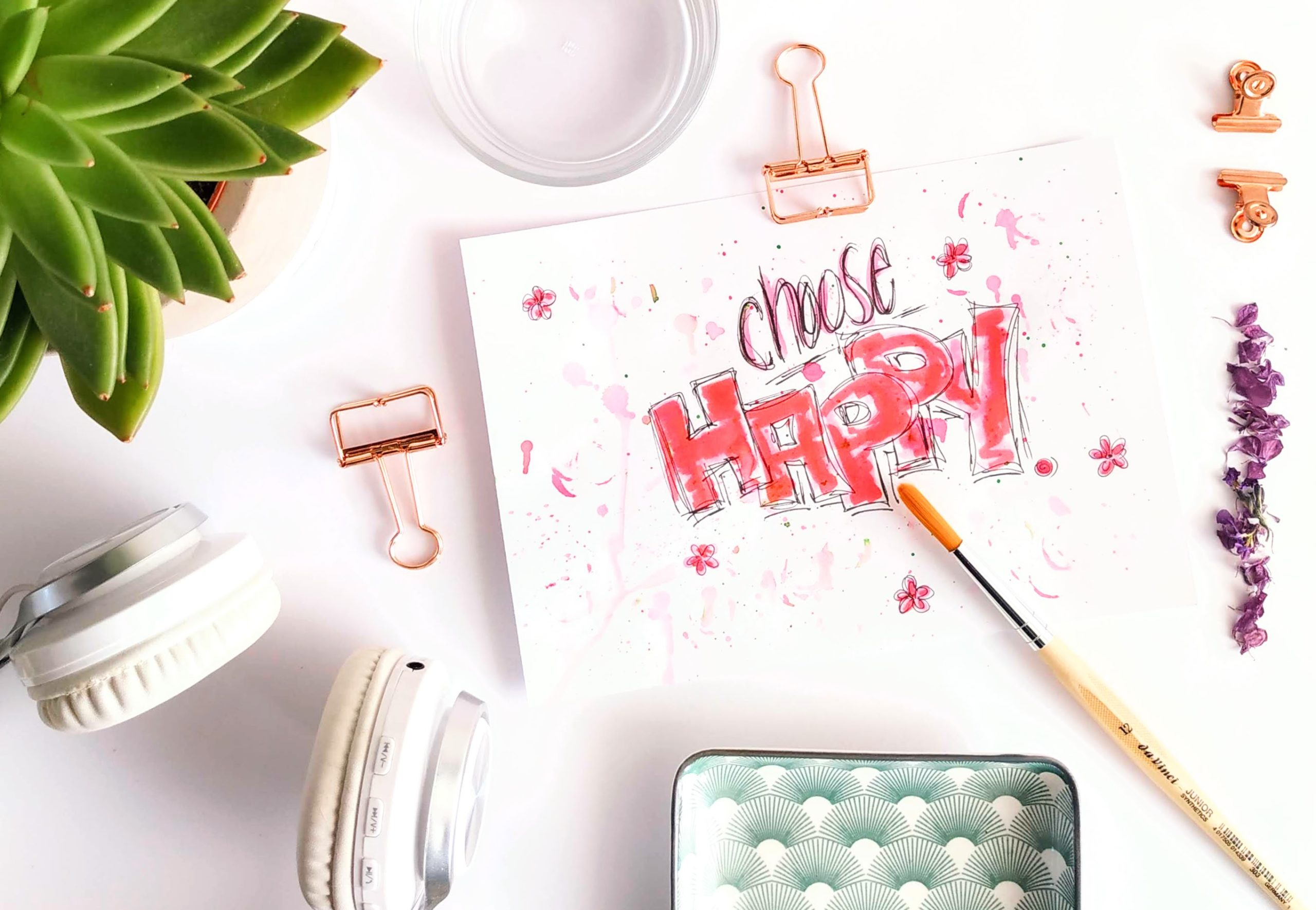"Brush Letterin ""Choose Happy"" mit Pinsel"