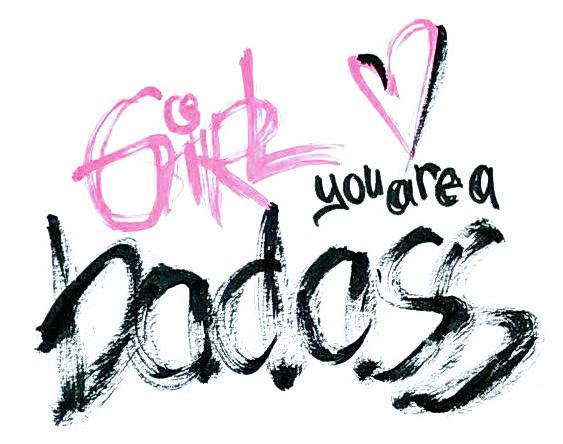 """englischer handlettering spruch """"Girl you are a badass"""" in rosa und schwarz"""