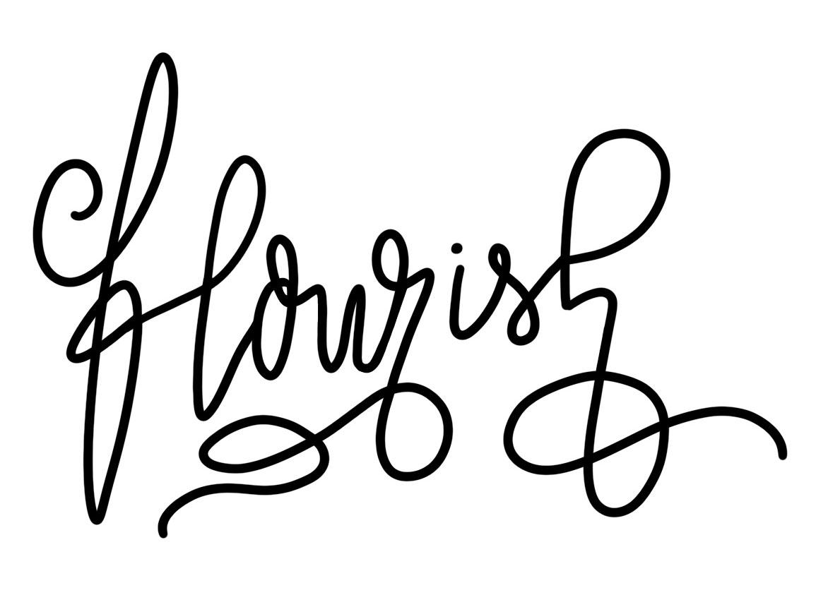 Eine romantische Form des Handlettering ist das sogenannte flourisch lettering was so viel wie Lettering mit Scnörkeln bedeutet.