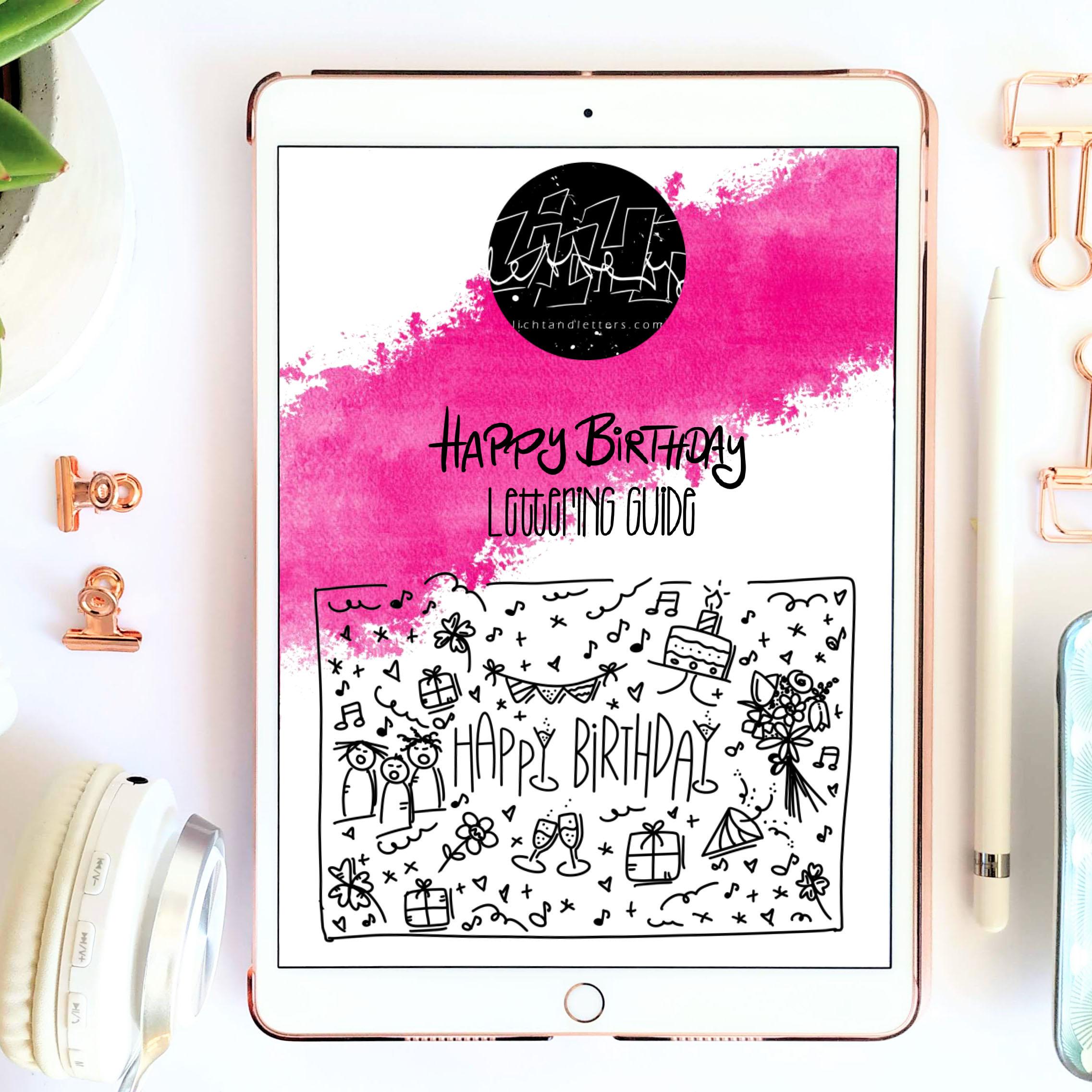 Titelbild des Happy Birthday Hand Lettering Guides mit Glückwunschkarte