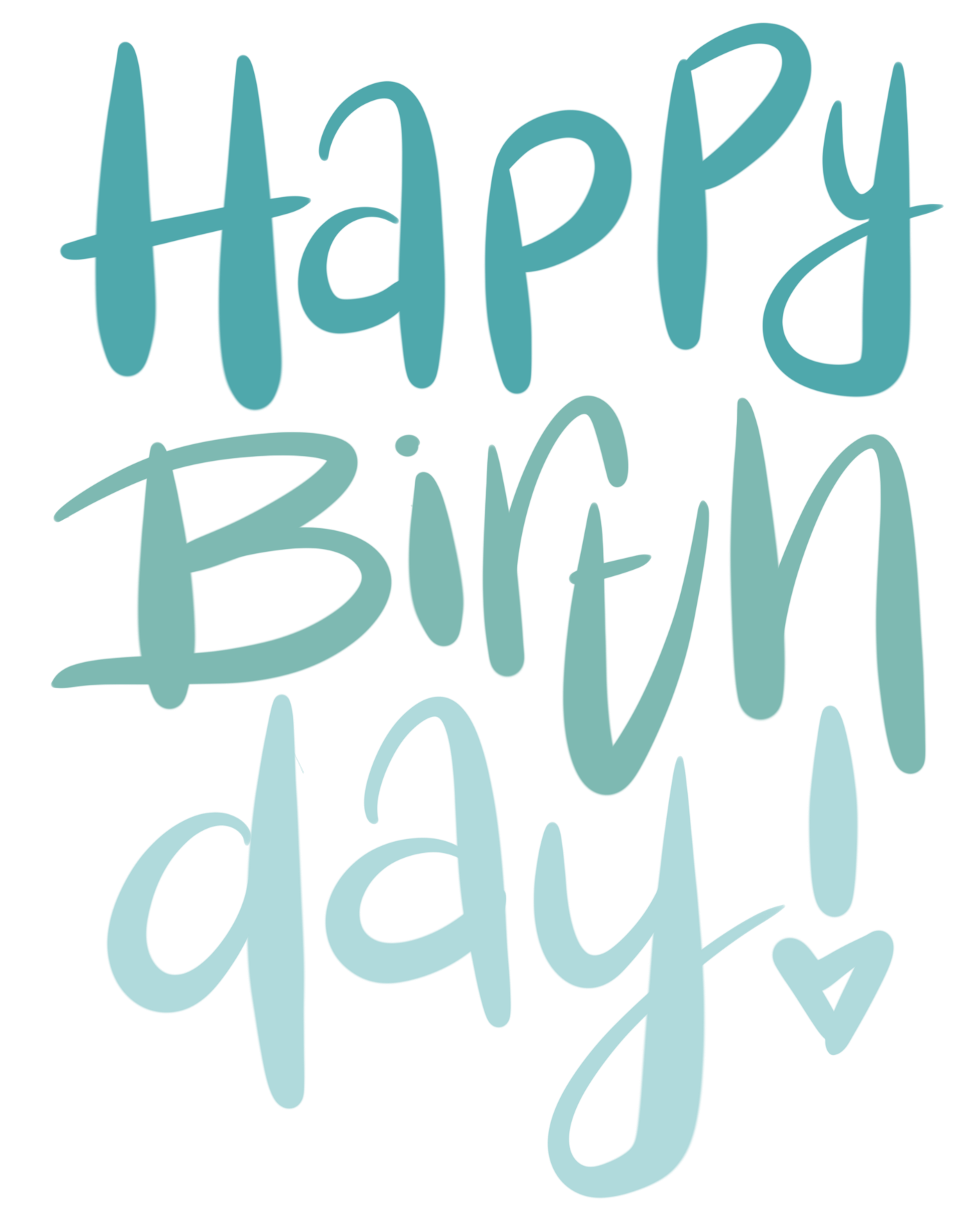 Happy Birthday Lettering mit dem Brushpen in Blautönen mit Lettering Blending