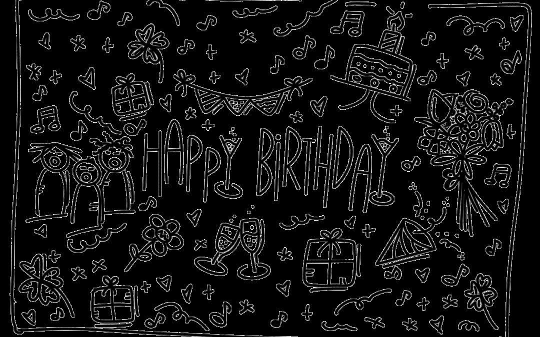 Lettering Geburtstagskarte mit Happy Birthday Lettering in der Mitte und vielen verschiedenen Geburtstags - Icons