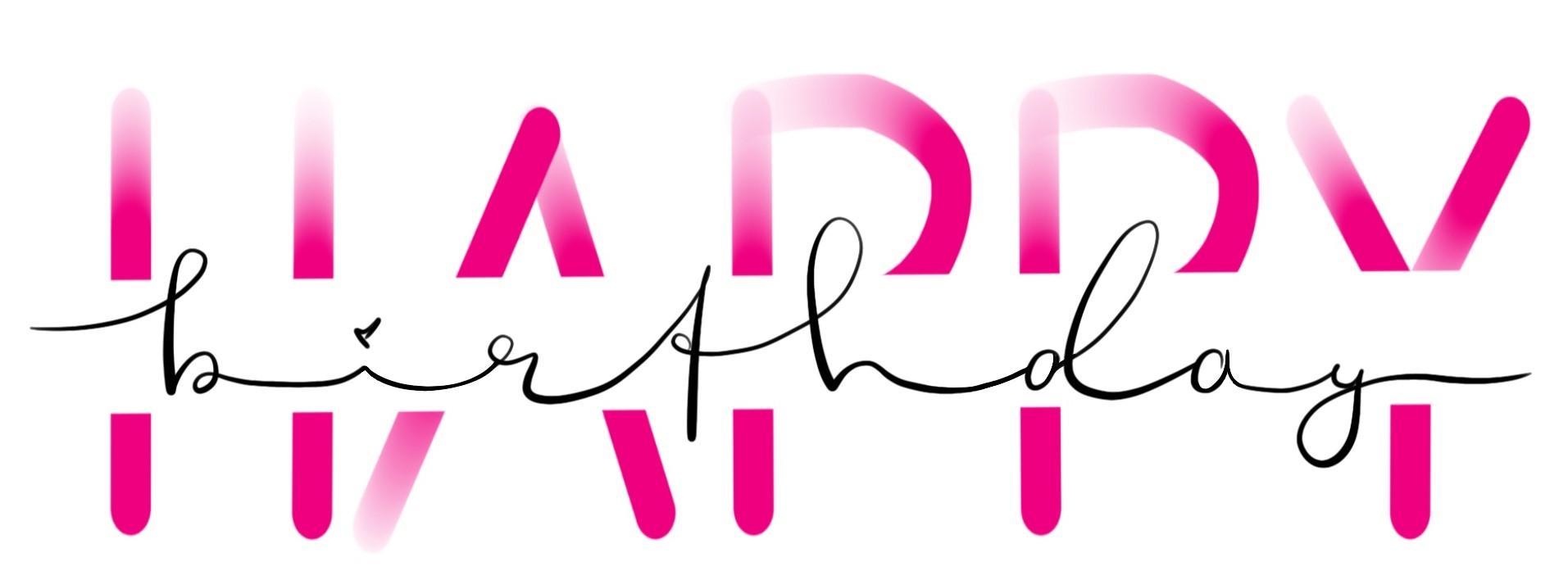 Hand Lettering Happy Birthday mit divided letters in pink und schöner Schreibschrift in der Mitte