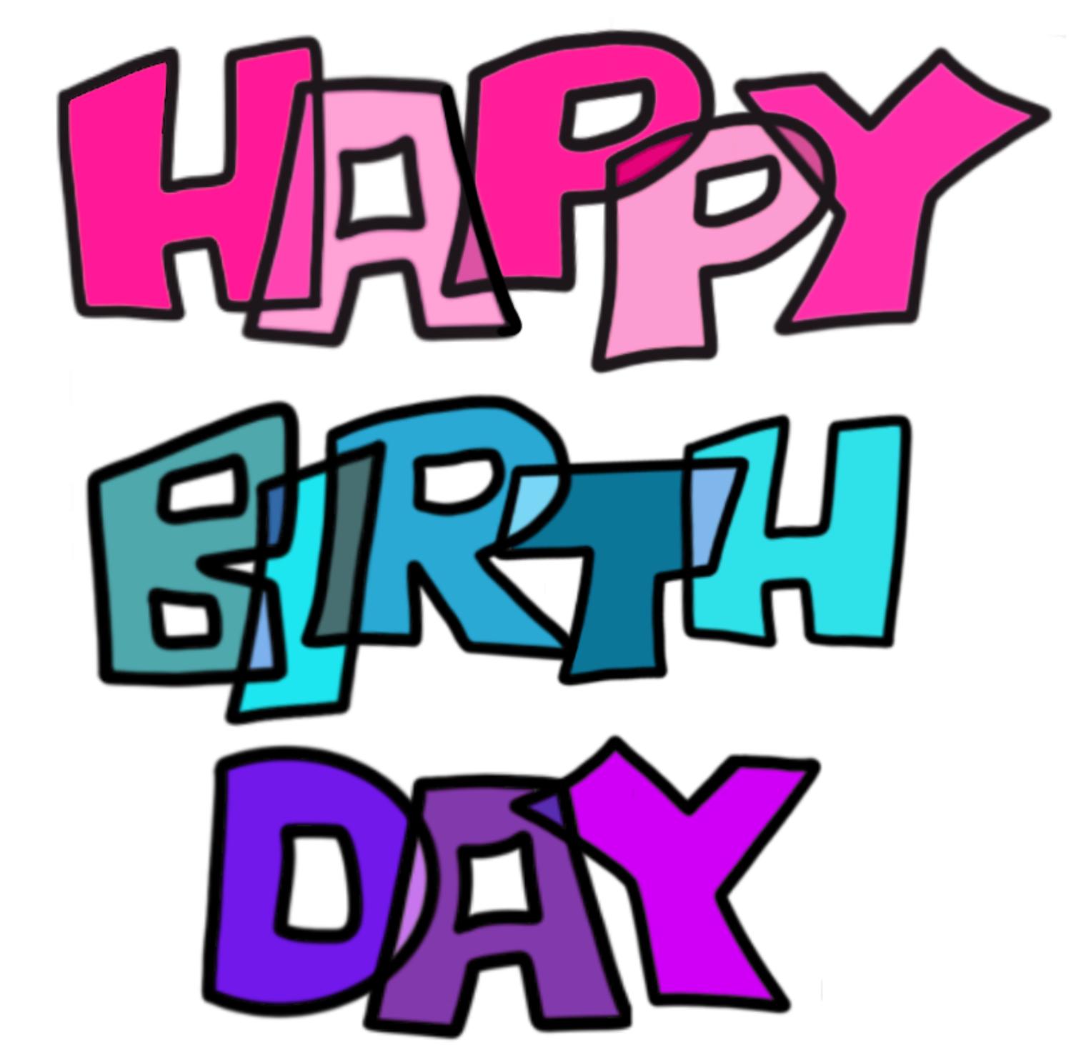 Fröhliches Happy Birthday Modern Lettering in 3 Zeilen in verschiedenen Farbtönen