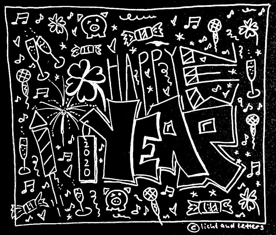 Lettering Collage zu Neujahr mit Happy New Year Lettering und Neujahrs Icons auf schwarzem Papier