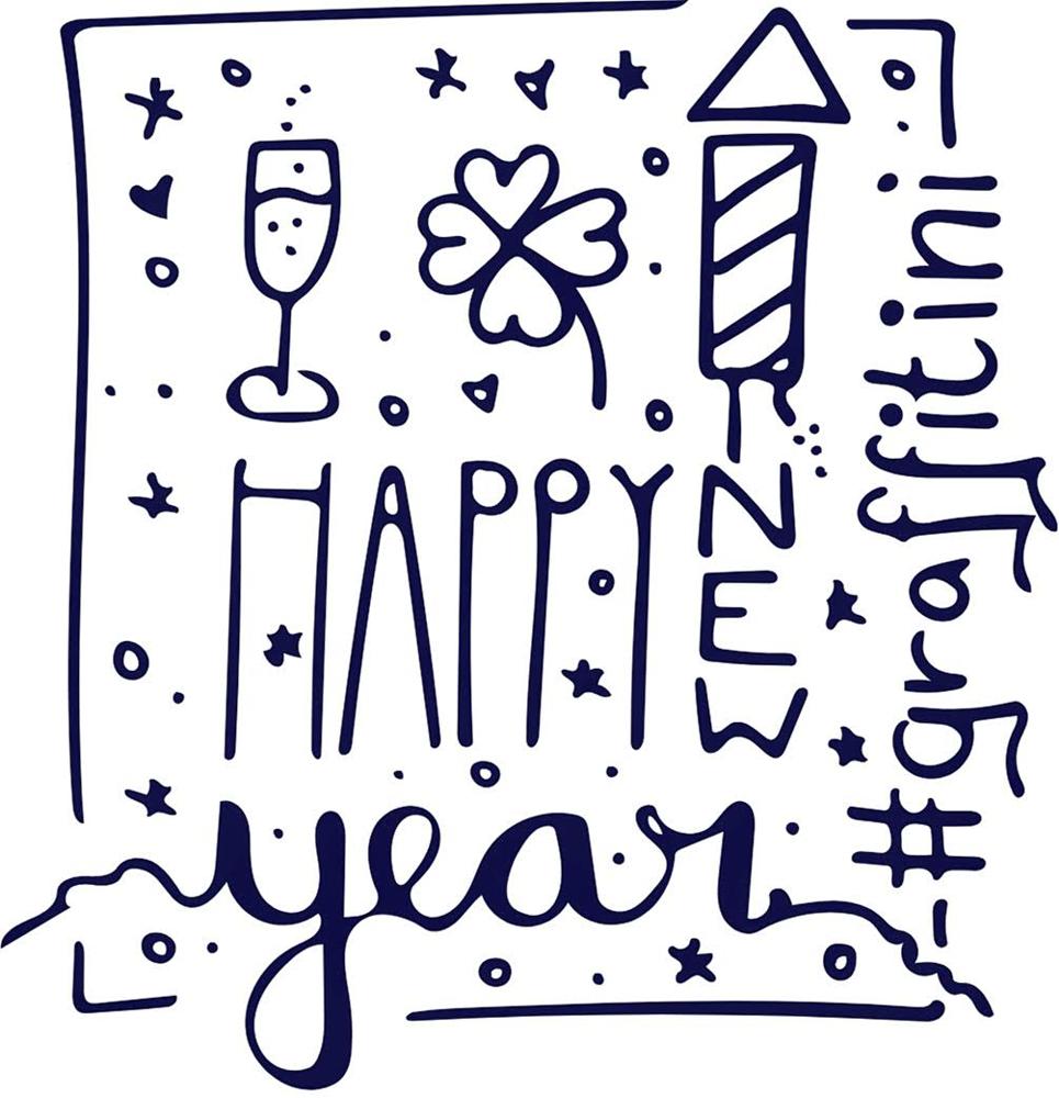 Glückwunschkarte Happy New Year mit Hand Lettering und kleinen Silvester Icons