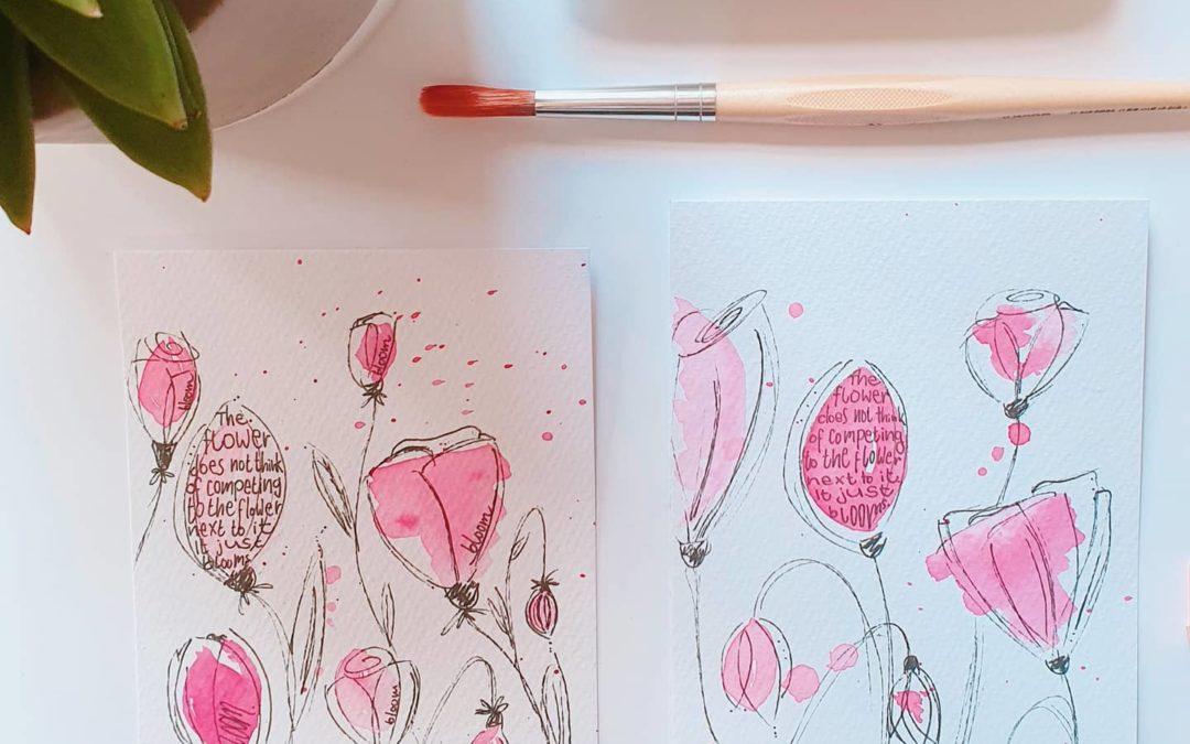 schoene Dinge auf dem Tisch - Lettering mit Aquarellblumen
