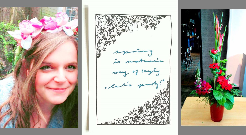 3 Bilder mit schoenen Dingen: Frau mit Blumenkranz, Hand Lettering Frühling und modernes Blumen Designerstück