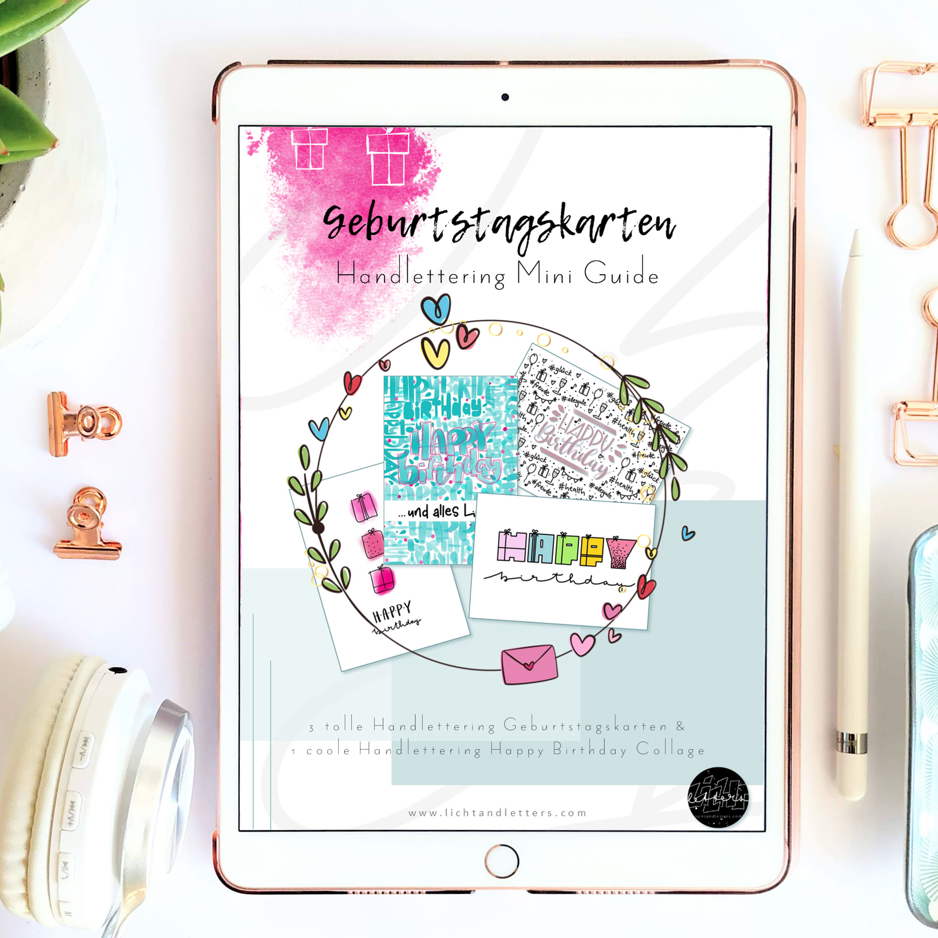 Ipad mit gratis Handlettering Guide über Geburtstagskarten und Happy Birthday Handlettering