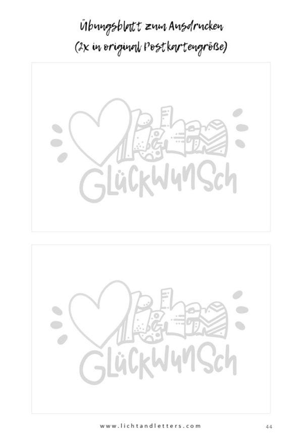 Druckvorlage für Handlettering Glückwunschkarte aus Happy Birthday Handlettering ebook (pdf)