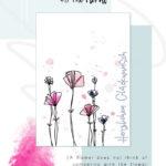 """Handlettering """"Herzlichen Glückwunsch"""" auf Karte mit floralem Design"""