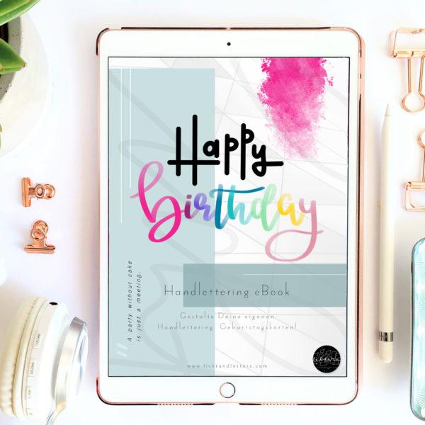 Happy Birthday Handlettering eBook als pdf auf ipad
